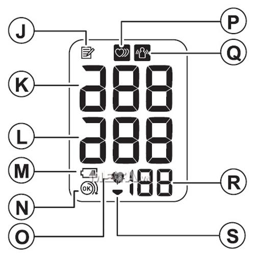 Các chỉ số trên màn hình của máy đo huyết áp bắp tay Omron Hem 7120