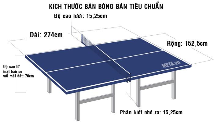 Kích thước tiêu chuẩn của bàn bóng bàn dùng cho thi đấu