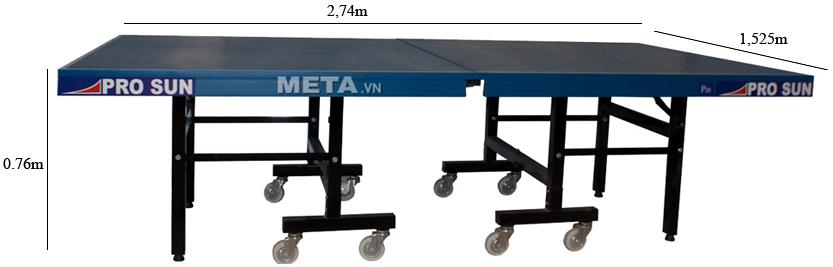 Kích thước bàn bóng bàn Pro sun P25 khi sử dụng