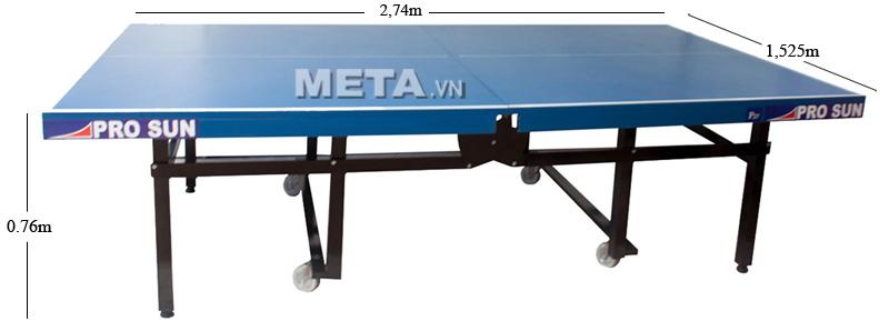 bàn bóng bàn Pro sun P27 gấp gọn khi không sử dụng