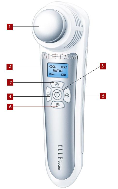Các phím chức năng của máy massage mặt chống lão hóa FCE90