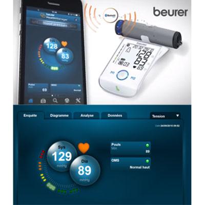 Máy đo huyết áp BM58 có thể kết nối với điện thoại di động để xem kết quả