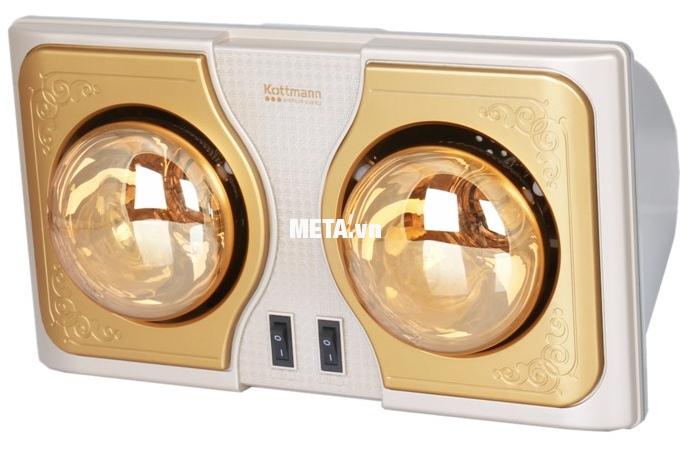 Đèn sưởi nhà tắm Kottmann 2 bóng K2BH không sợ nước, không lo chập cháy