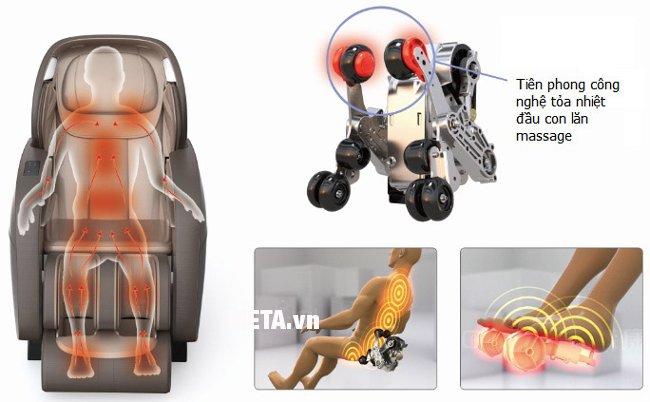Ghế massage toàn thân Maxcare Max-4D sự kết hợp hoàn hảo giữa massage con lăn và massage nhiệt