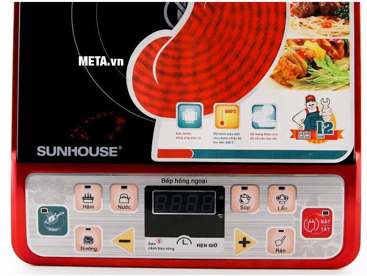 Bếp hồng ngoại Sunhouse SHD6003 có bảng điều khiển bằng tiếng Việt.