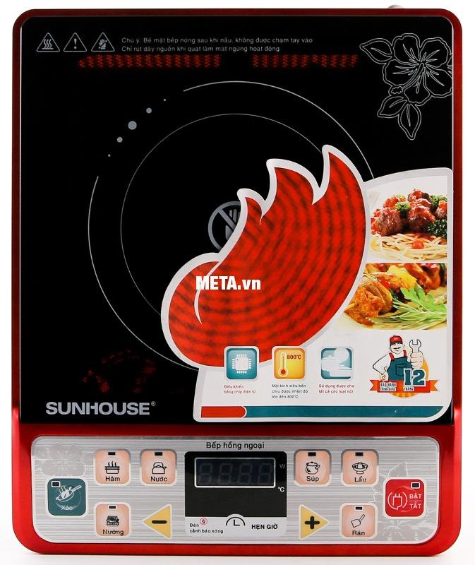 Bếp hồng ngoại Sunhouse SHD6003 không bức xạ nhiệt, sử dụng an toàn về nhiệt và điện.