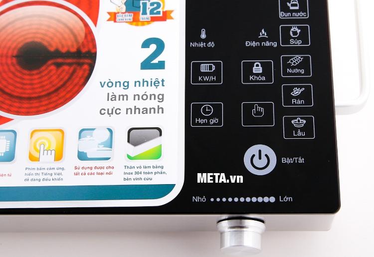 Bếp hồng ngoại cảm ứng Sunhouse SHD6018 thiết kế núm vặn, giúp điều chỉnh công suất dễ dàng.