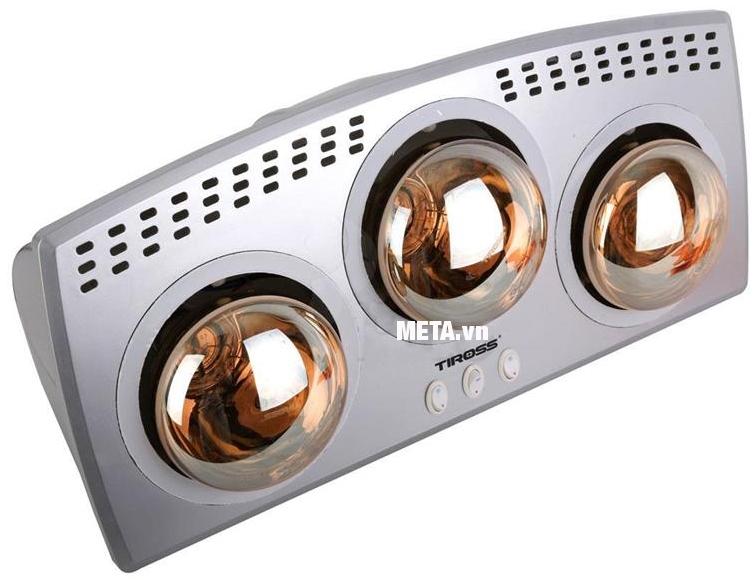 Đèn sưởi nhà tắm 3 bóng Tiross TS9292 có nhiều lỗ tản nhiệt ở phía trước giúp gia tăng độ bền cho bóng.