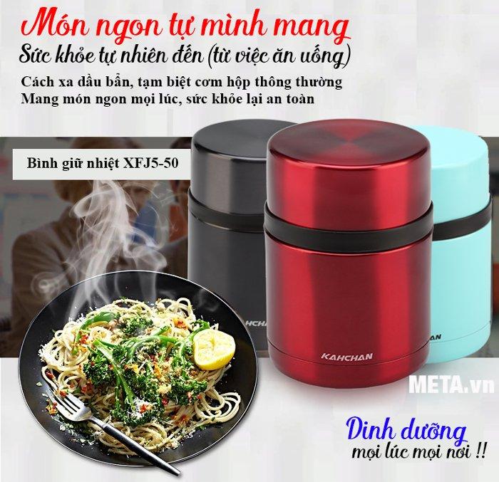 Bình nấu thức ăn không điện Kahchan XFJ5-50 giúp giữ thực phẩm luôn tươi ngon.