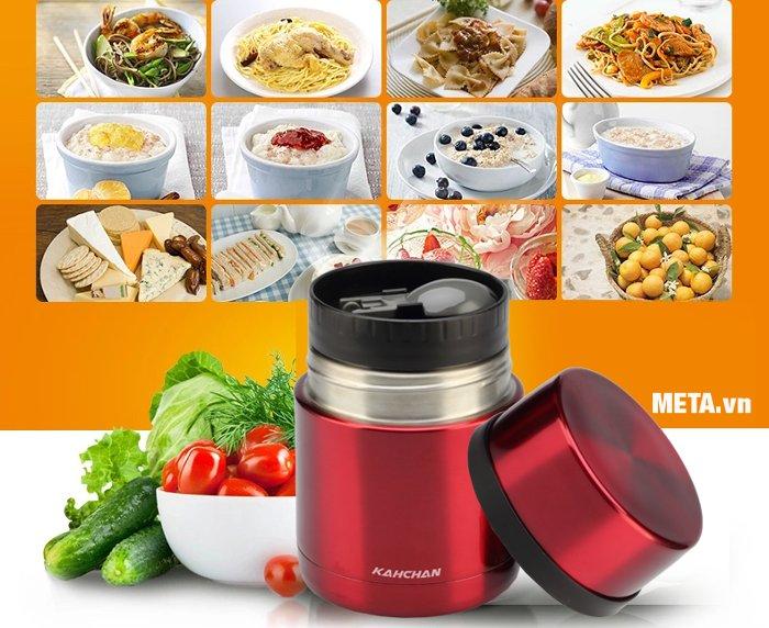 Bình nấu thức ăn không điện Kahchan XFJ5-50 giữ lại chất dinh dưỡng cho thức ăn.