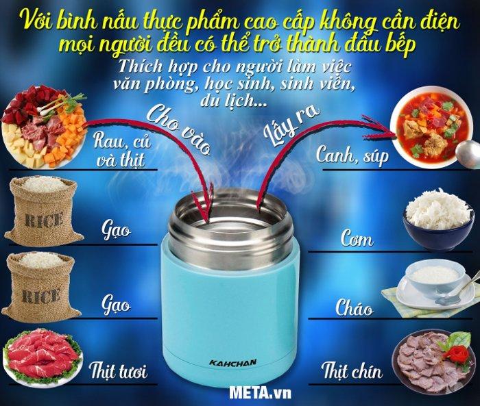 Nấu chín thức ăn với  bình ủ thức ăn cao cấp Kahchan XFJ5-50