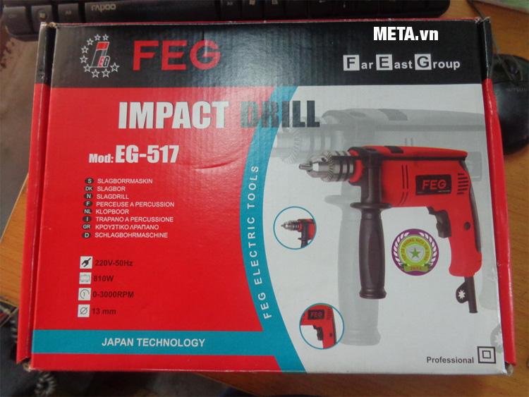 Máy khoan búa FEG EG-517 được để trong hộp giấy cứng nhỏ gọn, tiện lợi.