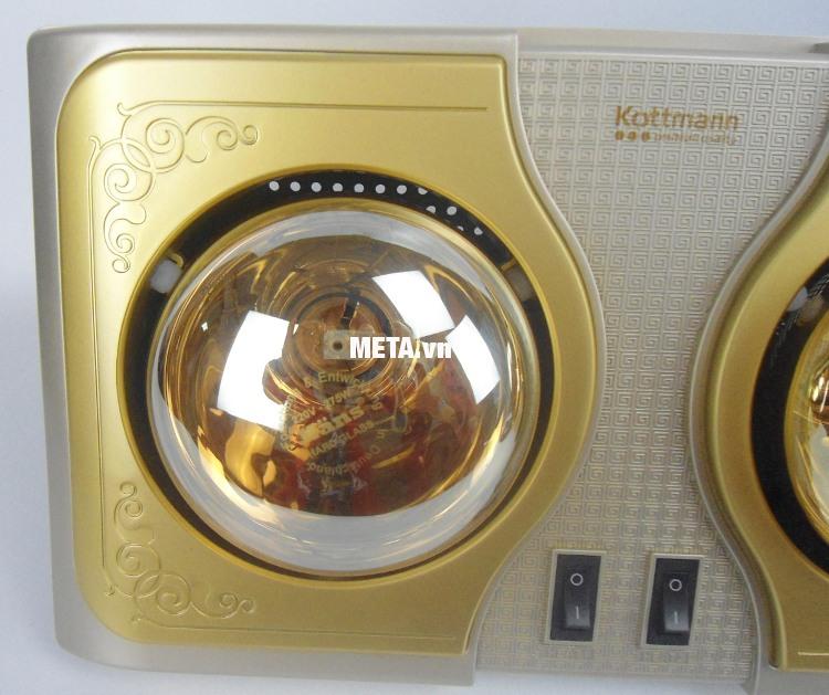 Đèn sưởi nhà tắm Kottmann 2 bóng K2B-H sử dụng bóng tiêu chuẩn chống nước IPX2