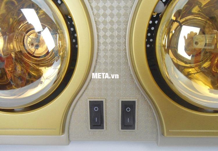 Đèn sưởi nhà tắm Kottmann 2 bóng K2B-H thiết kế công tắc riêng biệt, tiết kiệm điện năng.