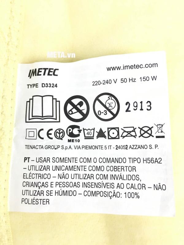 Cảnh báo khi sử dụng chăn điện đơn Relaxy Italy 6900C
