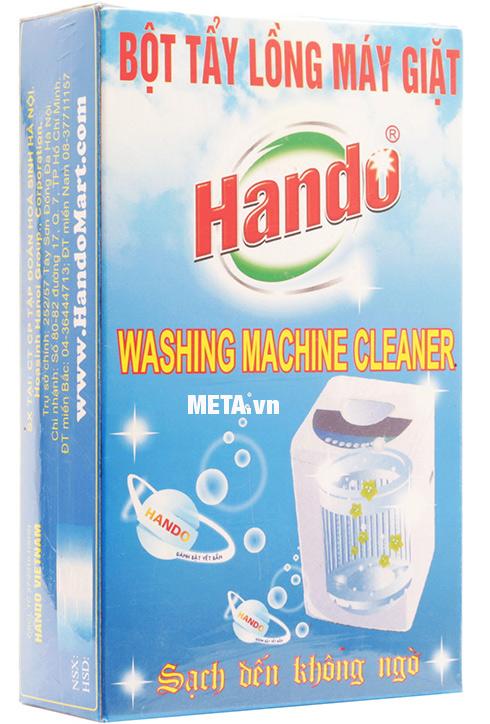 Bột tẩy vệ sinh lồng máy giặt Hando với vỏ hộp bắt mắt.