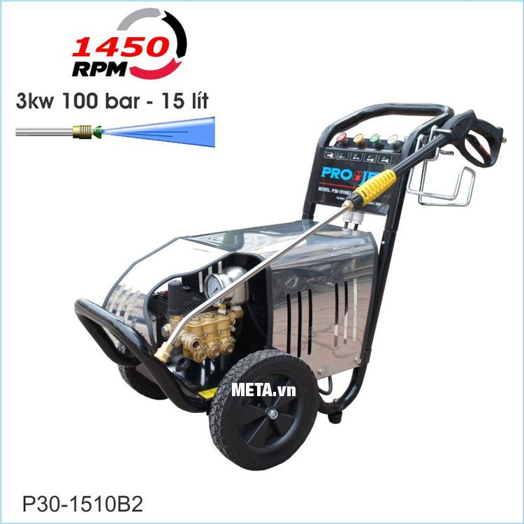 Máy rửa xe cao áp Projet P30-1510B2 có áp lực 100 bar, sử dụng mô tơ từ