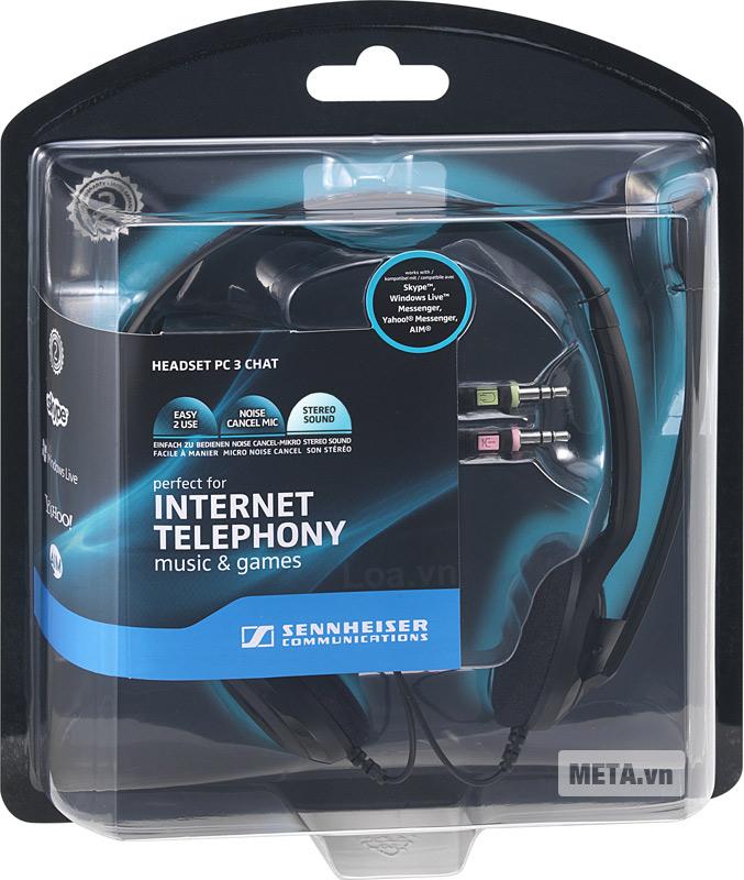 Thiết kế vỏ hộp tai nghe có microphone Sennheiser PC 3 Chat.