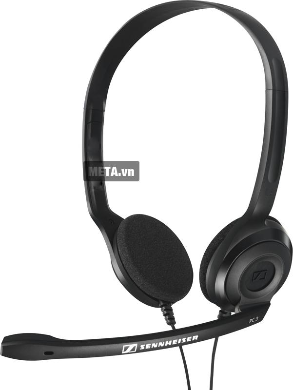 Tai nghe có microphone Sennheiser PC 3 Chat với thiết kế màu đen.