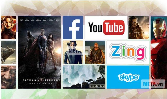 Tivi chạy hệ điều hành Android với những ứng dụng phổ biến như Youtube, Facebook....