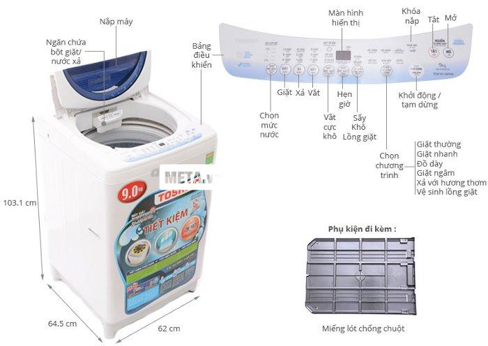 Thông số kĩ thuật của máy giặt Toshiba B1000GV.