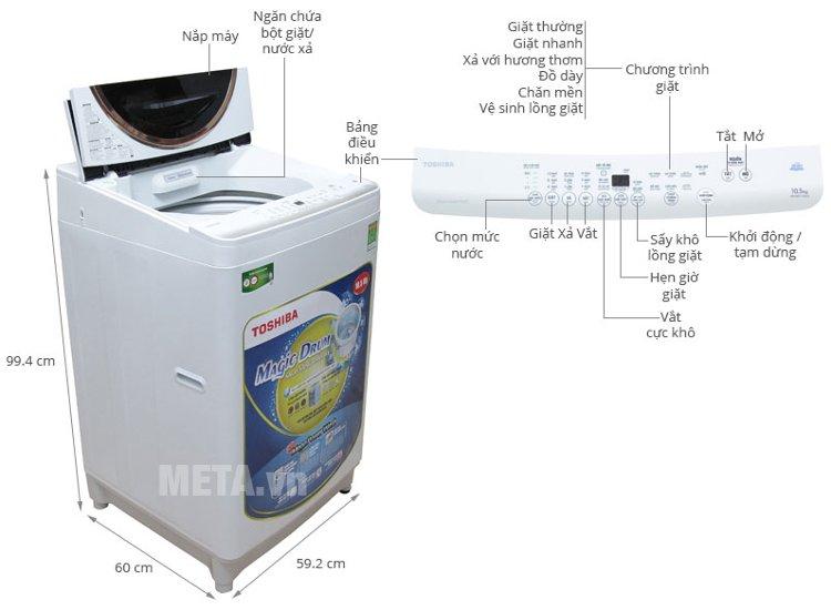Thông số kĩ thuật của máy giặt cửa trên 10.5 kg Toshiba ME1150GVWK.