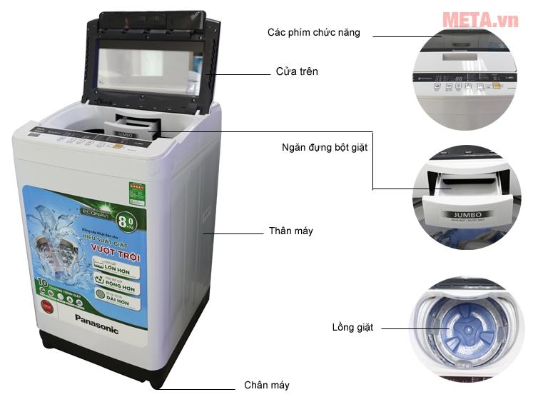 Cấu tạo của máy giặt cửa trên 8kg Panasonic NA-F80VG8WRV.
