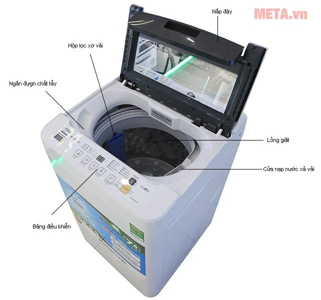 Cấu tạo của máy giặt cửa trên 7kg Panasonic NAF70VG7HRV.