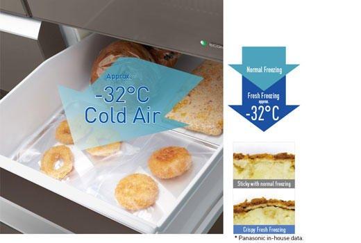 Ngăn làm mát với luồng khí lạnh cực mạnh đến -320C giúp làm đông thực phẩm nhanh.