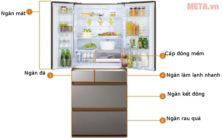 Tủ lạnh side by side Panasonic NR-F610GT-X2 với thiết kế 6 cánh hiện đại.