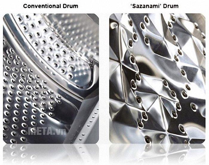 Lồng giặt Sazanami giúp giảm thiểu hư hại quần áo.