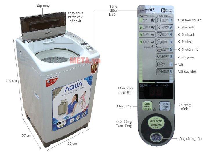Cấu tạo của máy giặt cửa trên AQUA 8kg AQW-S80KT
