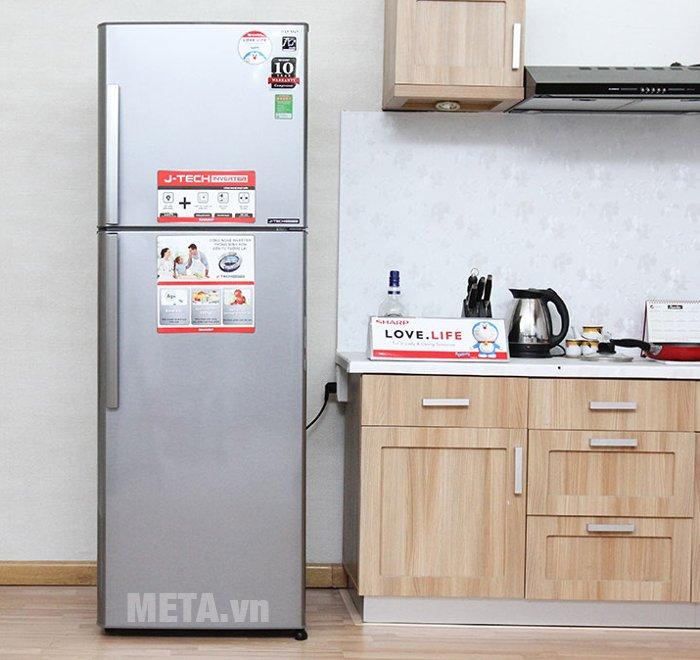 Tủ lạnh 342 lít Sharp SJ-X345E-MS được tích hợp công nghệ J-Tech Inverter giúp tiết kiệm năng lượng đến 35%