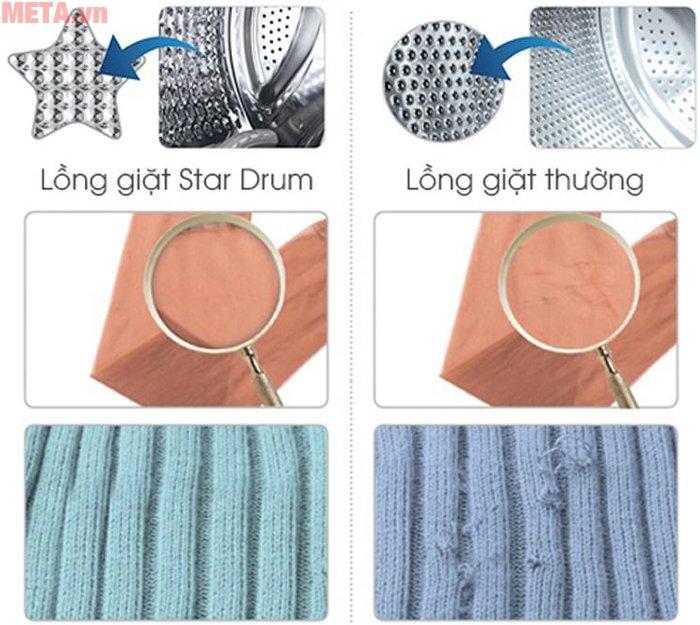 Máy giặt cửa trên 10kg Sharp ES-S1000EV-W trang bị lồng giặt Star Drum