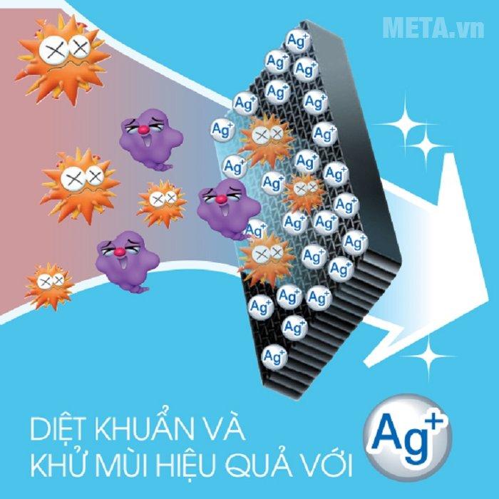Tủ lạnh 585 lít Sharp SJ-XP590PG-SL sử dụng bộ lọc kháng khuẩn Nano Ag+