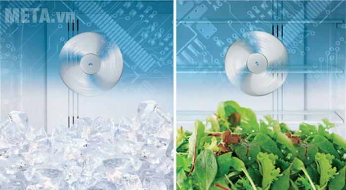 Tủ lạnh 455 lít Hitachi WB545PGV2 làm lạnh hiệu quả với hệ thống quạt kép