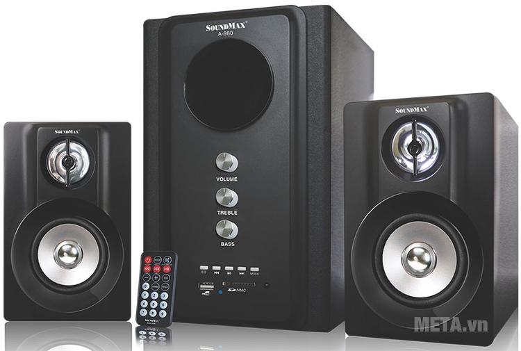 Loa SoundMax A980 2.1 có công suất lớn 40W, có thể đọc được dữ liệu từ thẻ nhớ và USB, đem đến trải nghiệm nghe nhạc tiện lợi mọi nơi mọi lúc.