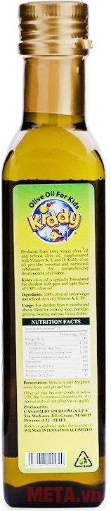 Hàm lượng dinh dưỡng cao có trong dầu ăn cho trẻ em Kiddy Oliu 250ml