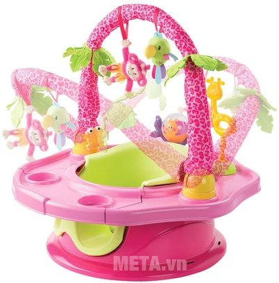 Ghế tập ngồi 3 giai đoạn có thanh đồ chơi (Hồng) SM13305 màu hồng đáng yêu