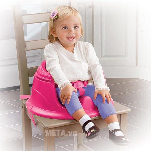 Ghế tập ngồi 3 giai đoạn có thanh đồ chơi (Hồng) SM13305 có đai an toàn