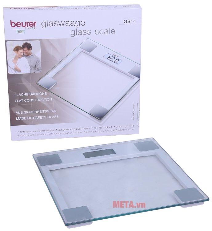Cân sức khỏe mặt kính Beurer GS14 có thiết kế nhỏ gọn, tiện dụng