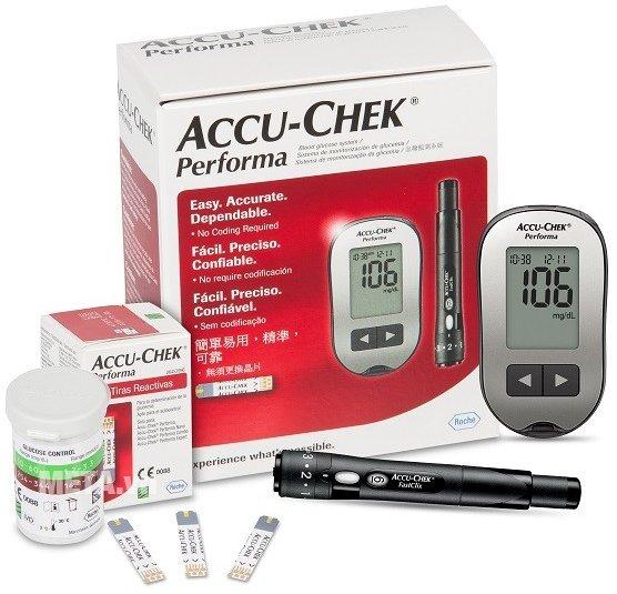 Kết quả hình ảnh cho máy đo đường huyết accu chek performa
