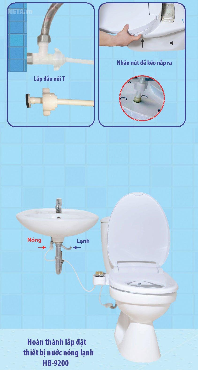Thiết bị vệ sinh Hyundae Bidet 2 vòi phun HB-9200 có vòi nước nóng và lạnh