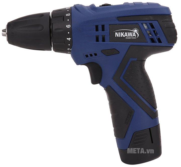 Bộ máy khoan vặn vít không dây Nikawa NK-F91B được bố trí tay cầm và nút điều khiển hợp lý