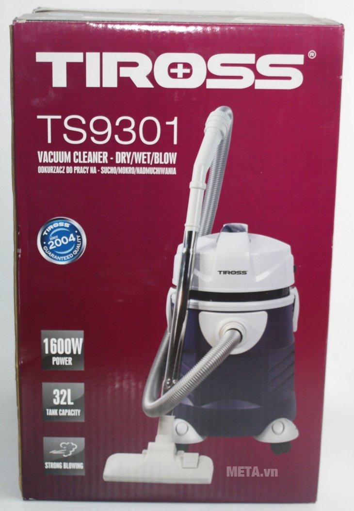 Máy hút bụi công nghiệp Tiross TS9301 thiết kế vỏ hộp bằng bìa cứng