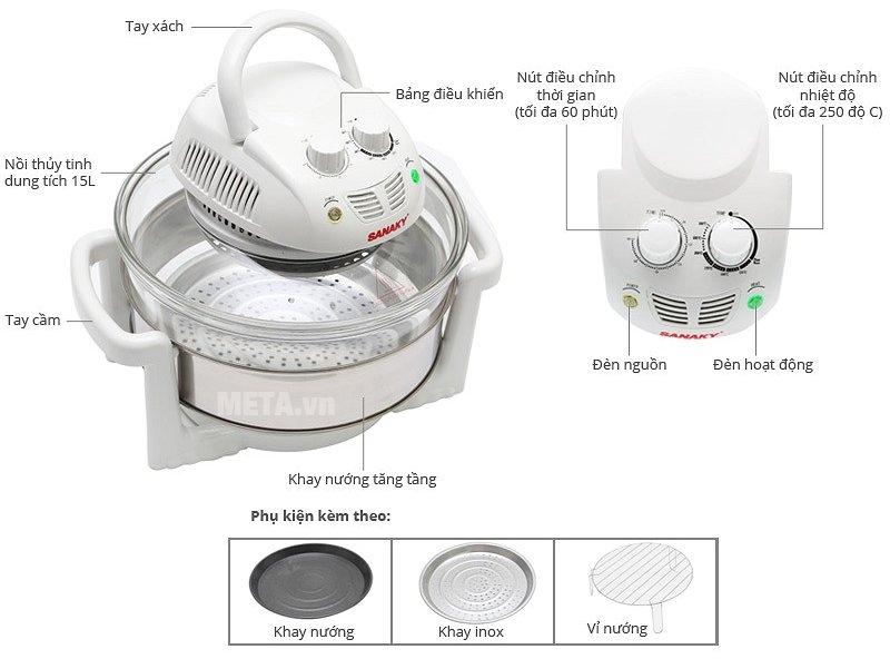 Cấu tạo lò nướng thủy tinh Sanaky VH 188T/D