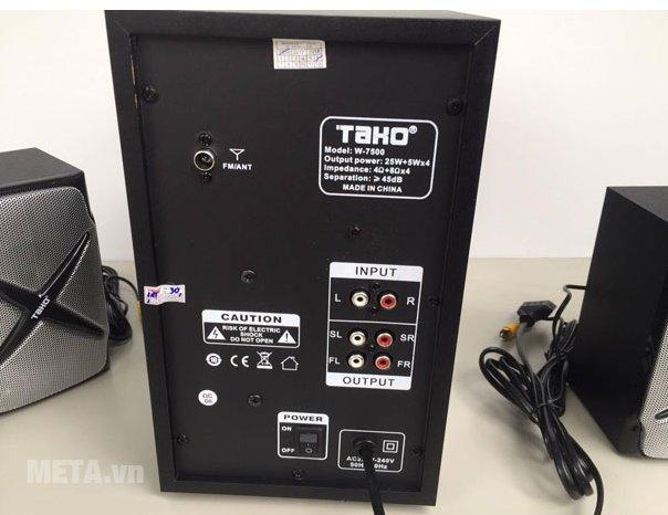 Loa vi tính Tako W7500 (4.1) với nút công tắc và các giắc cắm