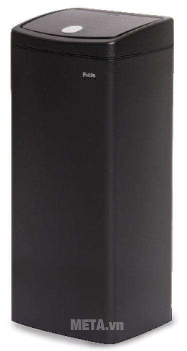 Thùng rác inox nhấn vuông lớn Fitis STL1-903 - 22 lít  có màu đen