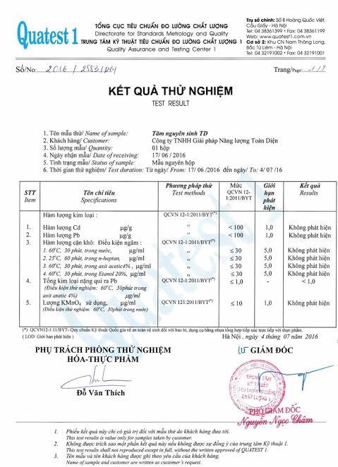 Kết quả kiểm nghiệm đạt vệ sinh an toàn thực phẩm của Tăm nguyên sinh TD