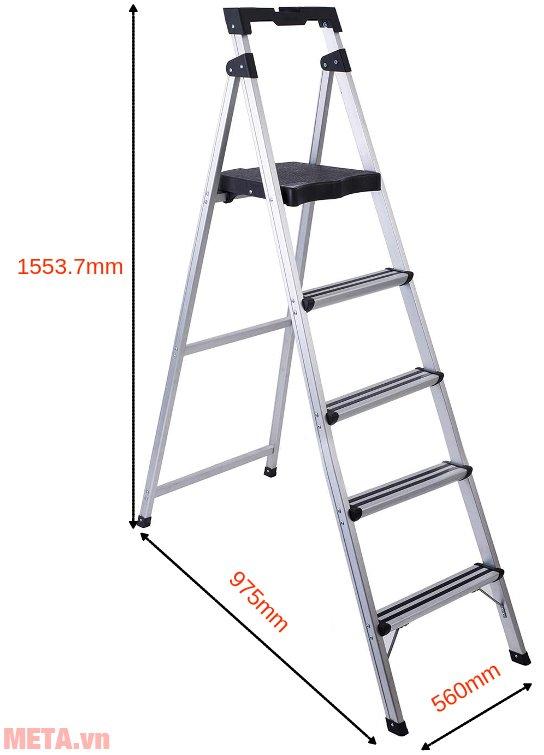 Kích thước sử dụng thang ghế 5 bậc Sumo ADS-605